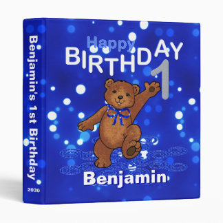 1st Birthday Dancing Teddy Bear Memories 1 Inch 3 Ring Binder