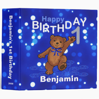 1st Birthday Dancing Teddy Bear Memories 2 Inch 3 Ring Binder