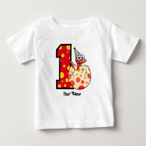 1st Birthday Dino Egg Custom Baby T_Shirt