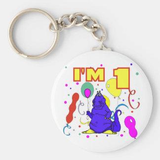 1st Birthday Dinosaur Birthday Basic Round Button Keychain
