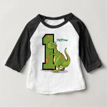 1st Birthday Dinosaur Custom Baby T-Shirt