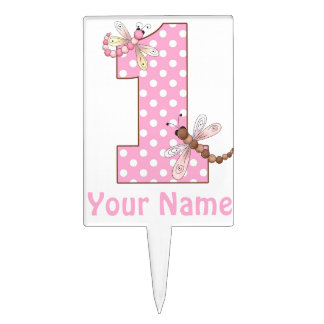 1st Birthday Dragonfly Personalized Cake Topper