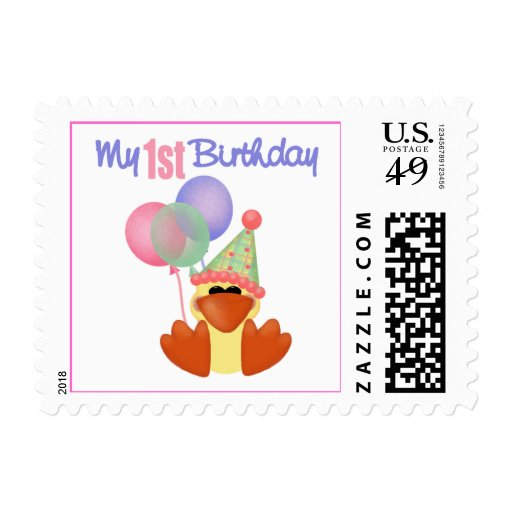 1st Birthday Duck Birthday Postage