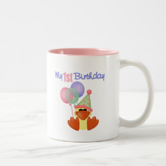 1st Birthday Duck Birthday Two-Tone Coffee Mug