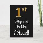 [ Thumbnail: 1st Birthday ~ Elegant Luxurious Faux Gold Look # Card ]