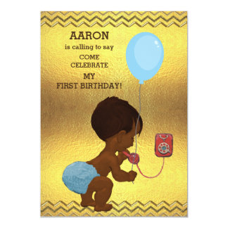 1st Birthday Ethnic Boy Phone Balloon Gold Chevron Card