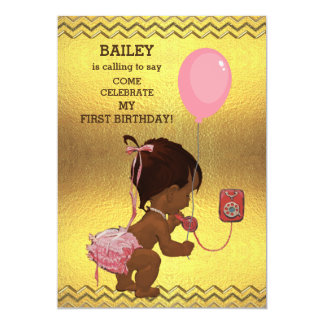 1st Birthday Ethnic Girl Balloon Gold Chevrons Card