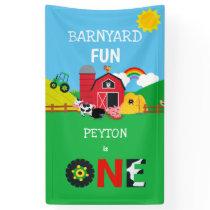 1st Birthday Farm Animals Barnyard Fun Kids Banner