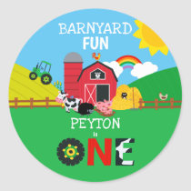 1st Birthday Farm Animals Barnyard Fun Kids Cute Classic Round Sticker