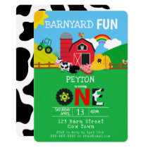 1st Birthday Farm Animals Barnyard Fun Kids Cute Invitation