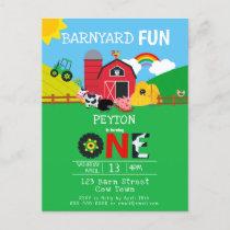 1st Birthday Farm Animals Barnyard Fun Kids Cute Invitation Postcard