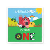 1st Birthday Farm Animals Barnyard Fun Kids Cute Napkins