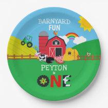 1st Birthday Farm Animals Barnyard Fun Kids Paper Plate