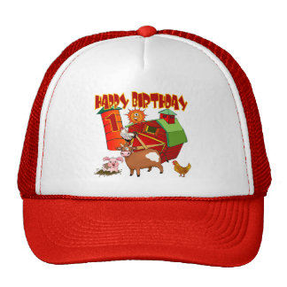 1st Birthday Farm Birthday Mesh Hats