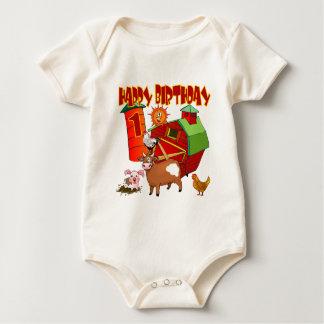 1st Birthday Farm Birthday Baby Bodysuits