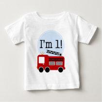1st Birthday Fire Truck Baby T-Shirt