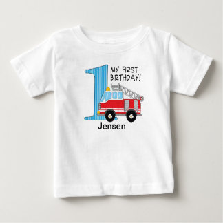 1st Birthday Fire Truck Blue/Red Baby T-Shirt