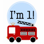 """1st Birthday Fire Truck Cake Topper Cutout<br><div class=""""desc"""">Decorate in style with this adorable red fire truck first birthday cake topper.</div>"""