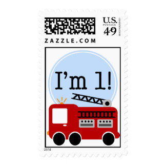1st Birthday Firetruck Postage Stamps