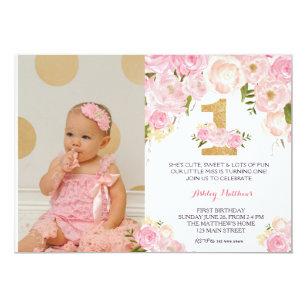 1st birthday invitations zazzle 1st birthday first beautiful floral invitation invitation filmwisefo