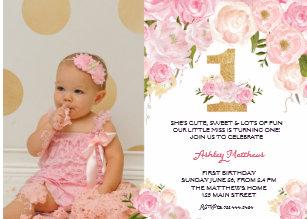 1st birthday invitations zazzle 1st birthday first beautiful floral invitation invitation stopboris Images