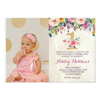 1ST birthday FIRST Beautiful Floral Invitation, Card   Zazzle.com