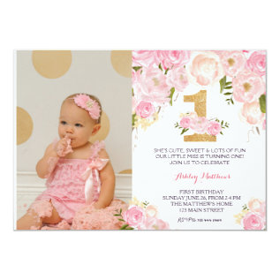 1st Birthday  First Beautiful Floral Invitation, Card at Zazzle