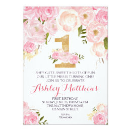 1st birthday invitations zazzle 1st birthday first beautiful floral invitation card bookmarktalkfo Image collections