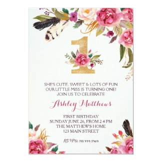 Floral 1st birthday invitations announcements zazzle 1st birthday first beautiful floral invitation card stopboris Choice Image