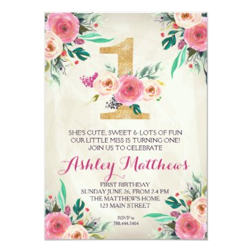 birthday 1ST birthday FIRST Beautiful Floral Invitation, Card