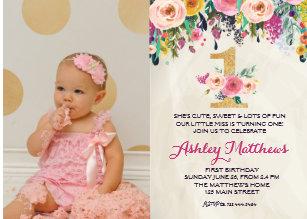 girl 1st birthday invitations zazzle