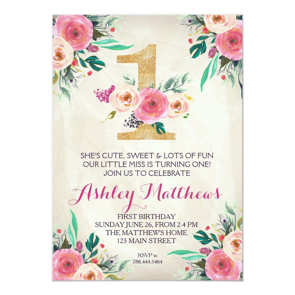1ST birthday FIRST Beautiful Floral Invitation, Invitation