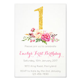 1st Birthday First Pink Gold Floral Invitation