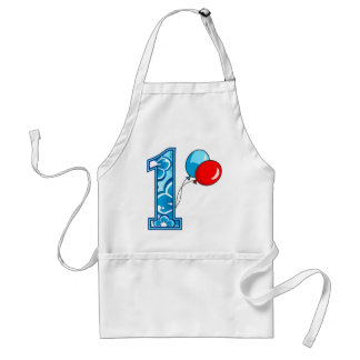 1st Birthday Floral and Balloons Adult Apron