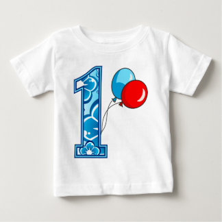 1st Birthday Floral and Balloons Baby T-Shirt