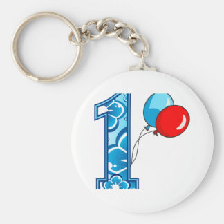 1st Birthday Floral and Balloons Keychain