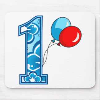 1st Birthday Floral and Balloons Mouse Pad