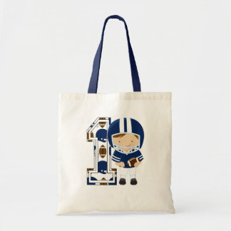 1st Birthday Football Player Blue Tote Bag