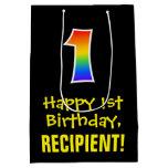 "[ Thumbnail: 1st Birthday: Fun, Bold, Colorful, Rainbow ""1"" Gift Bag ]"