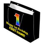 [ Thumbnail: 1st Birthday ~ Fun, Colorful, Vibrant, Rainbow 1 Gift Bag ]