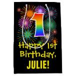 [ Thumbnail: 1st Birthday: Fun Fireworks Pattern + Rainbow 1 Gift Bag ]