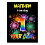 "[ Thumbnail: 1st Birthday - Fun Fireworks, Rainbow Look ""1"" Postcard ]"
