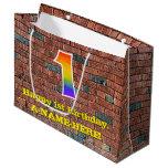 [ Thumbnail: 1st Birthday: Fun, Graffiti-Inspired Rainbow # 1 Gift Bag ]