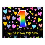[ Thumbnail: 1st Birthday: Fun Hearts Pattern, Rainbow 1 Postcard ]