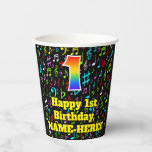 [ Thumbnail: 1st Birthday: Fun Music Notes Pattern, Rainbow 1 ]