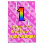 [ Thumbnail: 1st Birthday: Fun Pink Hearts Stripes & Rainbow 1 Gift Bag ]