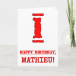 [ Thumbnail: 1st Birthday: Fun, Red Rubber Stamp Inspired Look Card ]