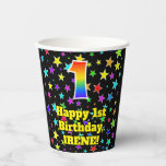 [ Thumbnail: 1st Birthday: Fun Stars Pattern and Rainbow 1 ]
