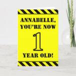 [ Thumbnail: 1st Birthday: Fun Stencil Style Text, Custom Name Card ]