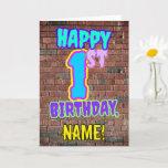[ Thumbnail: 1st Birthday - Fun, Urban Graffiti Inspired Look C Card ]